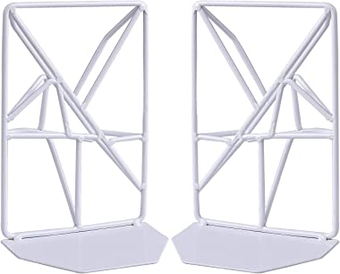 Non-Skid Bookends Metal, Bookend Supports with Unique Geometric Design for Shelves and Desk (1 Pair) (White)