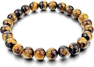 DHYANARSH 8 مم معتمد الطبيعية حجر عين النمر الخرز أساور للنساء / الرجال AAA الصف الخرز للجنسين