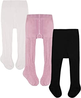 WEWINK PLUS Baby Toddler Girls Tights 3-5 Pack Knit Cotton Leggings Pants for Infant Girl Stockings