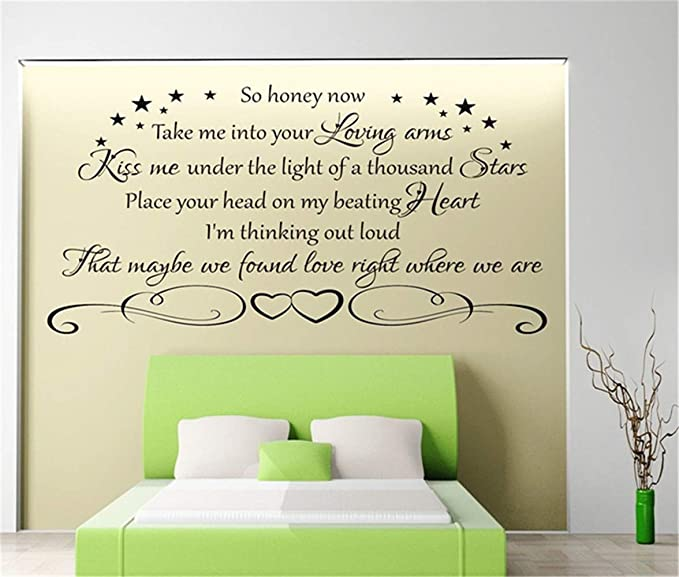 Amazon Com Vinyl Removable Wall Stickers Mural Decal Art Family Decals So Honey Now Take Me Into Your Loving Arms Kiss Me Under The Light Of A Thousand Stars For Bedroom Home