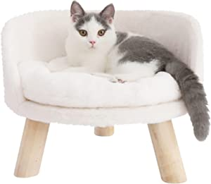 Bingopaw Elevated Cat Beds, Cat Stool Bed Nordic Pet House Cozy Cat Pad Chair Comfortable Cushion with Sturdy Wood Legs for Small Dog Kitten