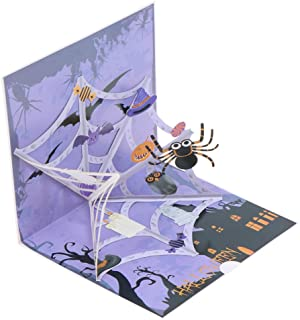 Qingsi 1 Pack Halloween Cards 3D Pop Up Spider Greeting Card with Envelope for Kids Mom Dad Friends Teachers