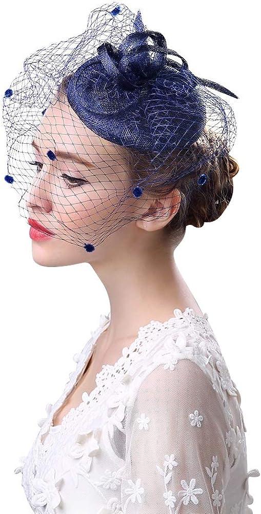 IBLUELOVER Fascinators Hair Clip Headband Pillbox Hat Bowler Mesh Veil Wedding Party Cocktail Hat Dark Blue