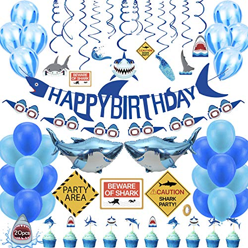 Shark Birthday Party Decorations,73 pcs Shark Theme Birthday Party Supplies for Kids,Boys Include Shark Balloons,Shark Birthday Banner,Shark Cake Topper for Ocean Theme Birthday Party
