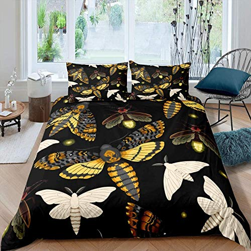 WENYA 100% pure polyester cotton, quilt cover and pillow shams, Animal insect gold moth white moth pattern, bedding suitable for children's room gifts