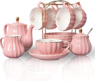 Porcelain Tea Sets British Royal Series, 8 OZ Cups& Saucer Service for 6, with Teapot Sugar Bowl Cream Pitcher Teaspoons and tea strainer for Tea/Coffee, Pukka Home (Pink)