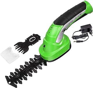 Batteridriven häcksax, 7,2 V 2-i-1 gräs- och busksax med batteri och laddare, inkl. 2 olika knivar, verktygsfri byte