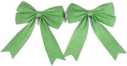 PIXNOR 2Pcs Wedding Bows Decoration Jute Burlap Bows Christmas Bows (Green)