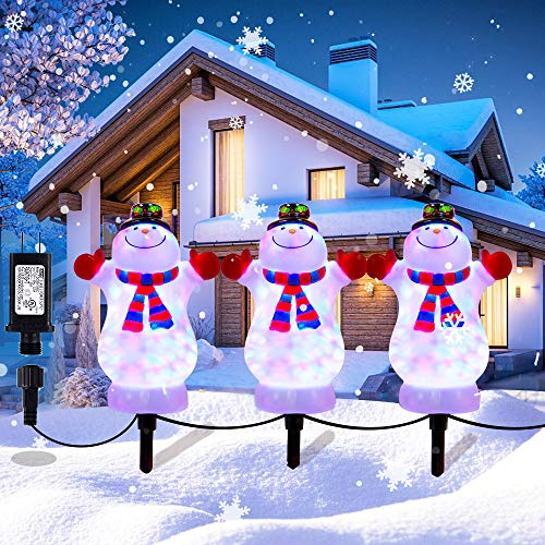 Christmas Decorations Snowman Landscape Path Lights Outdoor Stakes, HueLiv 3 PCS LED Outdoor Snowman Pathway Lights, Waterproof Pathway Stake Lights for Decor Garden, Patio, Yard, Lawn Plug in