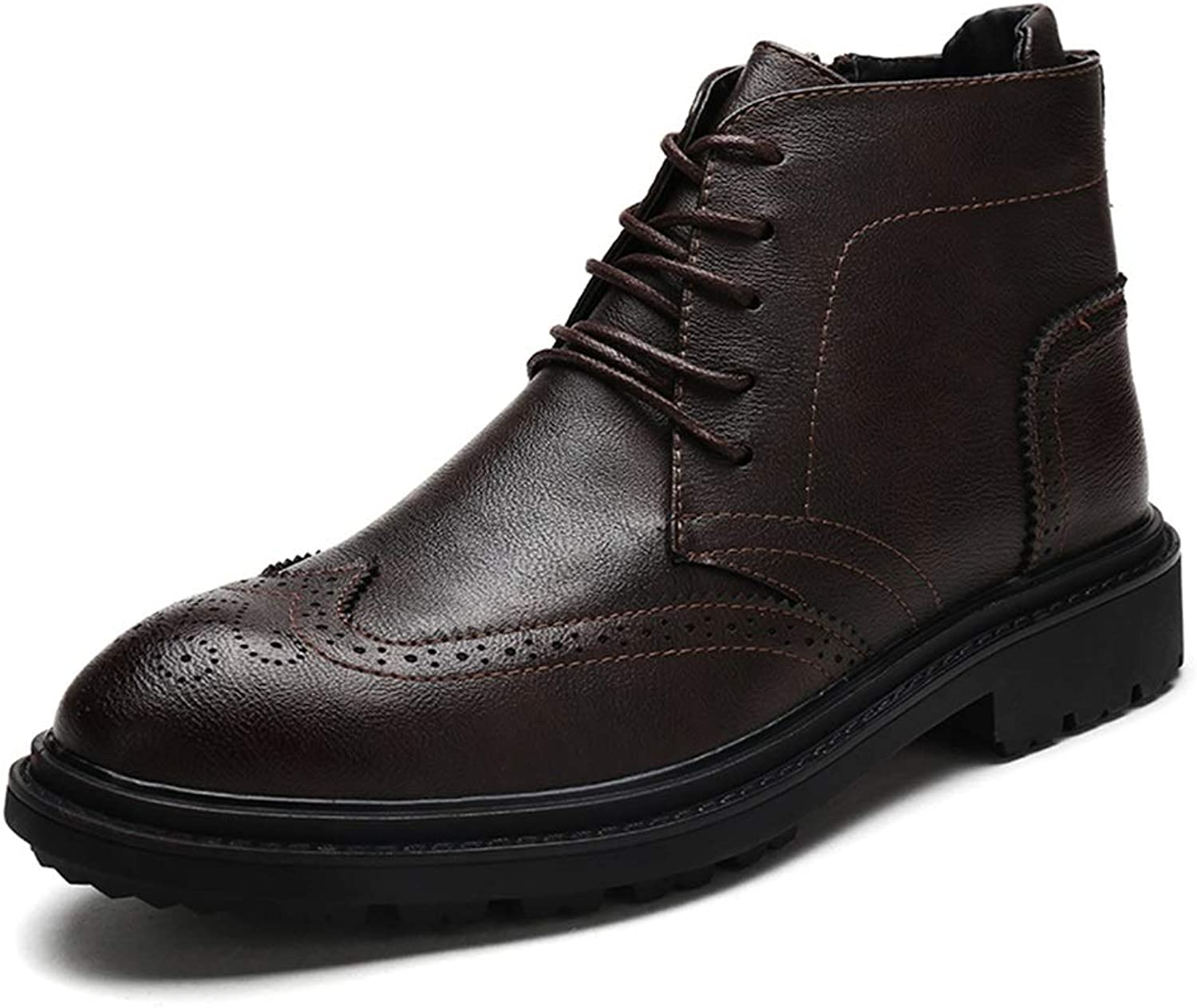 Men's Ankle Work Boot Casual Height Increasing Insole Retro Brogue High Top Boot (color   Brown, Size   5.5 UK)