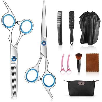 Tijeras de peluquería, AGPTEK 10 Pcs Juego de Tijeras de Peluquería con Capa de Barbero y Peine de Maquinilla de Afeitar, Clips, Set de Corte de Pelo: Amazon.es: Belleza