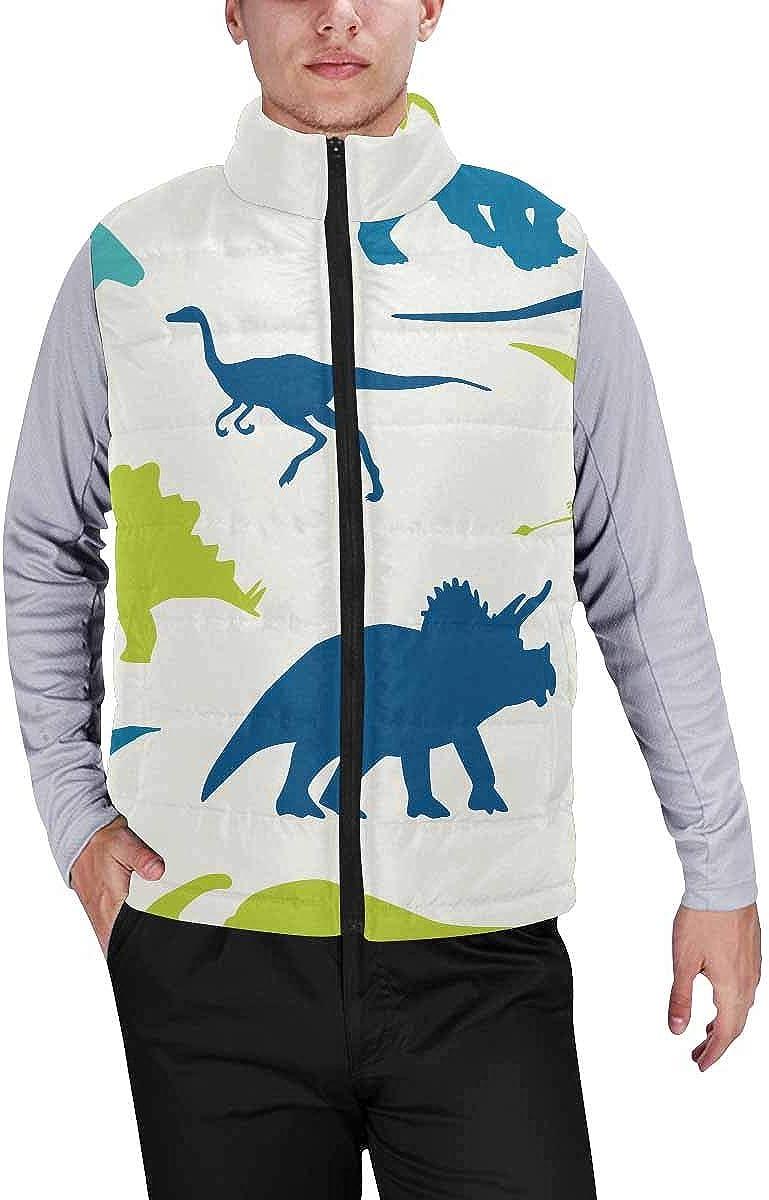 InterestPrint Men's Full-Zip Padded Vest Jacket for Outdoor Activities Colorful Trees