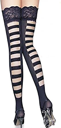 Mature sexy women in nylons Amazon Com Jj Gogo Black Lace Top Sexy Mature Stockings Clothing Shoes Jewelry