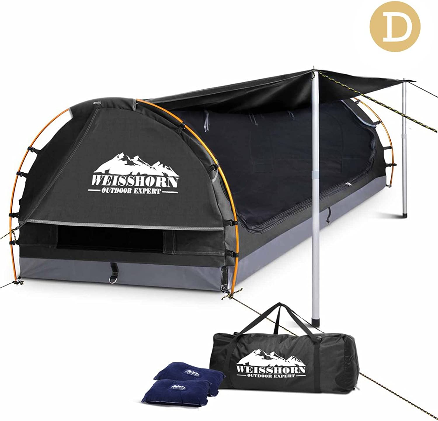 Double Dome Canvas Tent w  2 Pillows Camping Hiking Outdoor Picnic Swag Equipment Shelter UV Resistant  Dark Grey