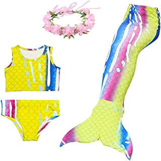 Mermaid Girl's Swimsuit with Wreath, BESTYLING Mermaid Bikini with Tail for Swimming