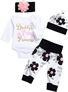 "FYMNSI Baby Mädchen Coming Home Outfit Daddy""s Little Princess Baumwolle Langarm Strampler Blumen Hosen Hut Stirnband Set Casual Geburtstag Party Kleidung"
