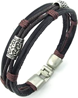 KONOV Mens Womens Leather Rope Bracelet, Tribal Braided Cuff Bangle, Brown Black Silver