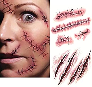 Tuopuda 10 Feuilles Halloween Tatouage Cicatrice Blessure Zombie Tattoo Sticker Halloween Mascarade /à Maquillage Accessoires