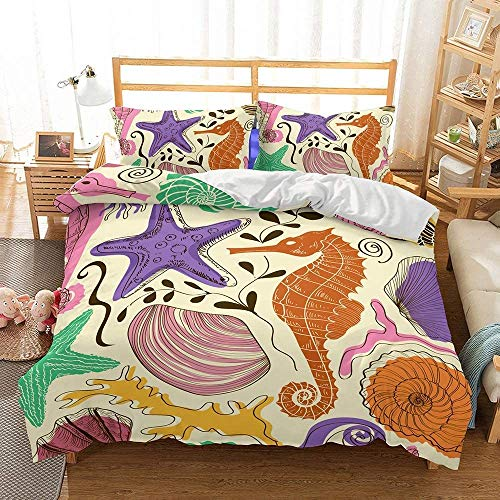 BH-JJSMGS Underwater world Turtle bedding Double bed 3D printed giant turtle underwater fish coral duvet cover, suitable for adults, boys and girls, seahorse Single-135x200cm