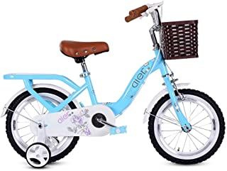 Stroller Damping Mountain Bike boy Girl Road Riding Child Bicycle Bicycle Learning with Auxiliary Wheel (Color : Blue, Size : 12inches)