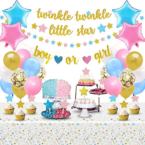 Gender Reveal Party Decorations Twinkle Twinkle Little Star Banner Pink Blue Gold Star Cake Topper Moon and Star Balloons Boy or Girl He or She Baby Shower Supplies