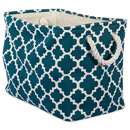 DII Printed Polyester, Collapsible and Convenient Storage Bin to Organize Office, Bedroom, Closet, Kid's Toys, Laundry -Large Rectangle, Teal Lattice