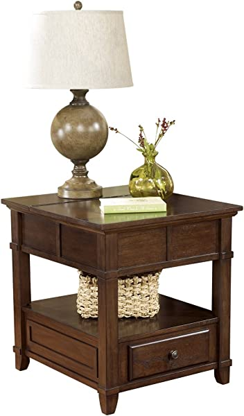 Ashley Furniture Signature Design Gately End Table Accent Side Table Rectangular Medium Brown