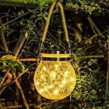 Solar Lantern Outdoor Hanging Solar Light led Mason Jar...