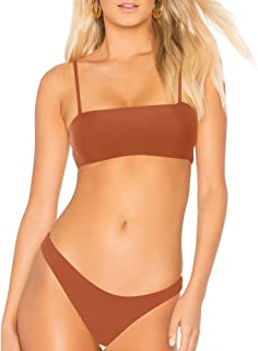 bf52c45919 Amazon.com: Dixperfect Women's Fashion Two Pieces Swimsuits Bandeau Top  Bikini Sets with Cheeky Cut Bottom: Clothing