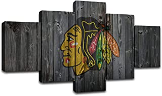 AsheArt Canvas Prints Chicago Blackhawks Wall Art Pictures Ice Hockey NHL Sports Wall Decor Painting Decoration Posters Framed Ready to Hang(60''Wx32''H)