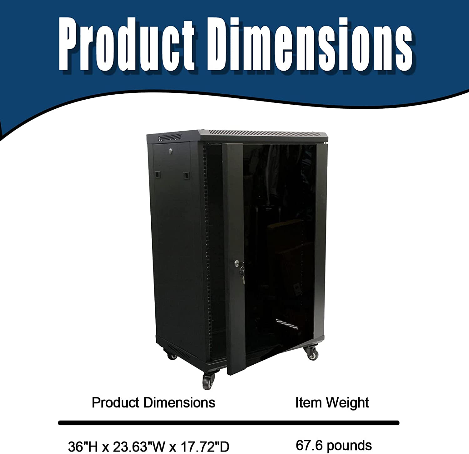 18U Wall-Mounted Network Server Cabinet Rack-Mounted Glass Door Lock with Rack, 130 pounds Weight, 450mm deep