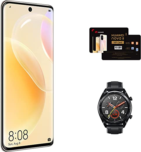 HUAWEI nova 8 - Smartphone 6.57 inch, 8 GB+128 GB, 90Hz, 64 MP Super Quad Camera, 66 W SuperCharge, Dual SIM, NFC, Arabic Blush Gold +FOC(HUAWEI WATCH GT Stainless steel black+ HUAWEI NOVA 8 VIP Card)
