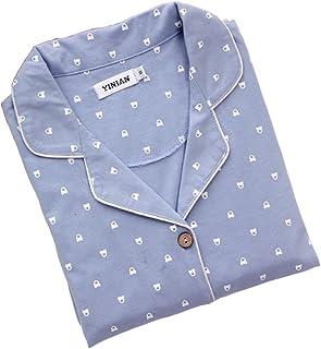 Happylifehere メンズ パジャマ 寝巻き 夏 長袖 上下セット コットン 綿 M/L/XL ルームウェア ブルー