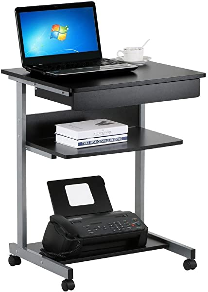 Topeakmart Compact Computer Desk Cart For Small Spaces Work Workstation Writing Desk Table With Drawers And Printer Shelf On Wheels