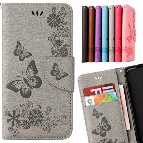 LEMORRY Huawei P8 Lite (2017) Hülle Tasche Ledertasche Flip Beutel Slim Schutz Magnetisch Schließung SchutzHülle Weich Silikon Cover Schale für Huawei P8 Lite (2017), Butterfly Grau