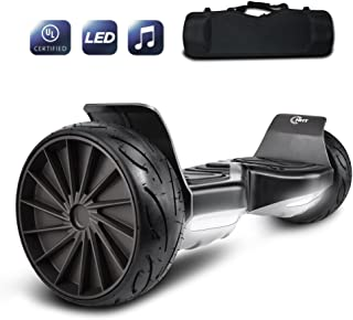 CHO All Terrain Hoverboard Off-Road Racing Tyre Hover Board Smart Self-Balancing Dual Motors Electric Scooter with Built-in LED Lights and Speaker UL2272 Certified