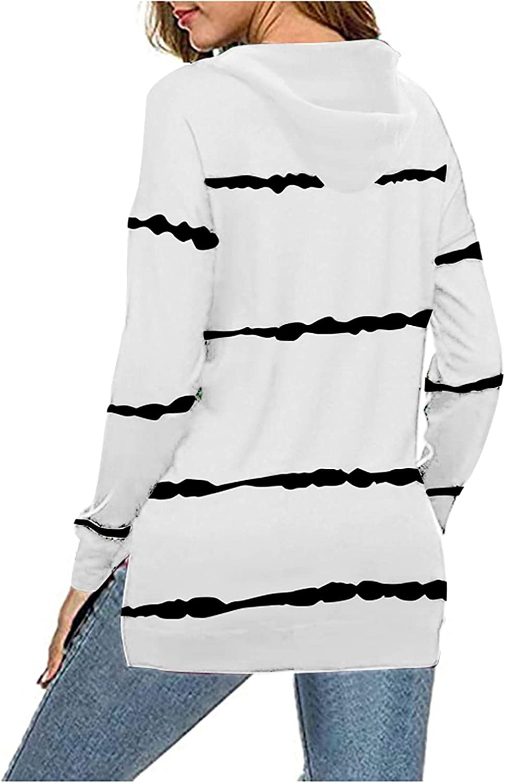 Sweatshirts for Women,Womens Crewneck Sweatshirt Graphic Striped Vintage Long Sleeve Plus Size Trendy Pullover Tunic