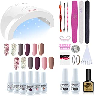 Vishine Gel Nail Polish Starter Kit - 48W LED Lamp 6 Color & Base Top Coat Set, Manicure Tools Popular Nail Art Designs #05