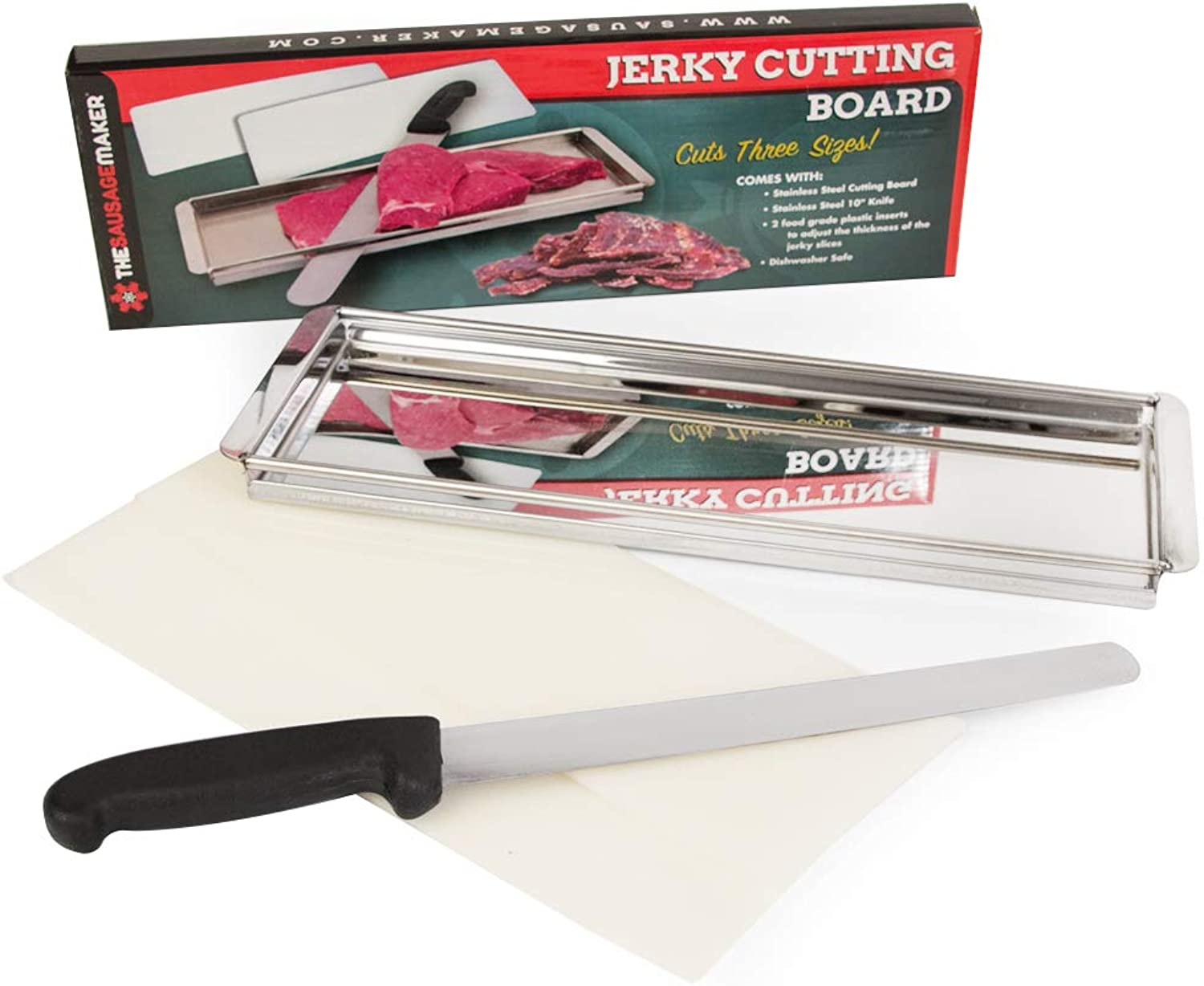TSM Products Jerky Cutting Board and 10-Inch Slicer Knife