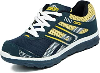 Asian shoes Zoom-1013 Navy Blue Yellow Mesh Kids Shoes 5UK/Indian