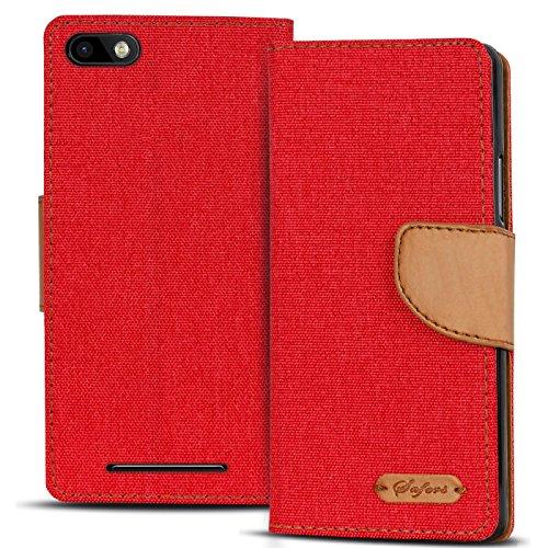 Verco Lenny 3 Hülle, Schutzhülle für Wiko Lenny 3 Tasche Denim Textil Book Hülle Flip Hülle - Klapphülle Rot