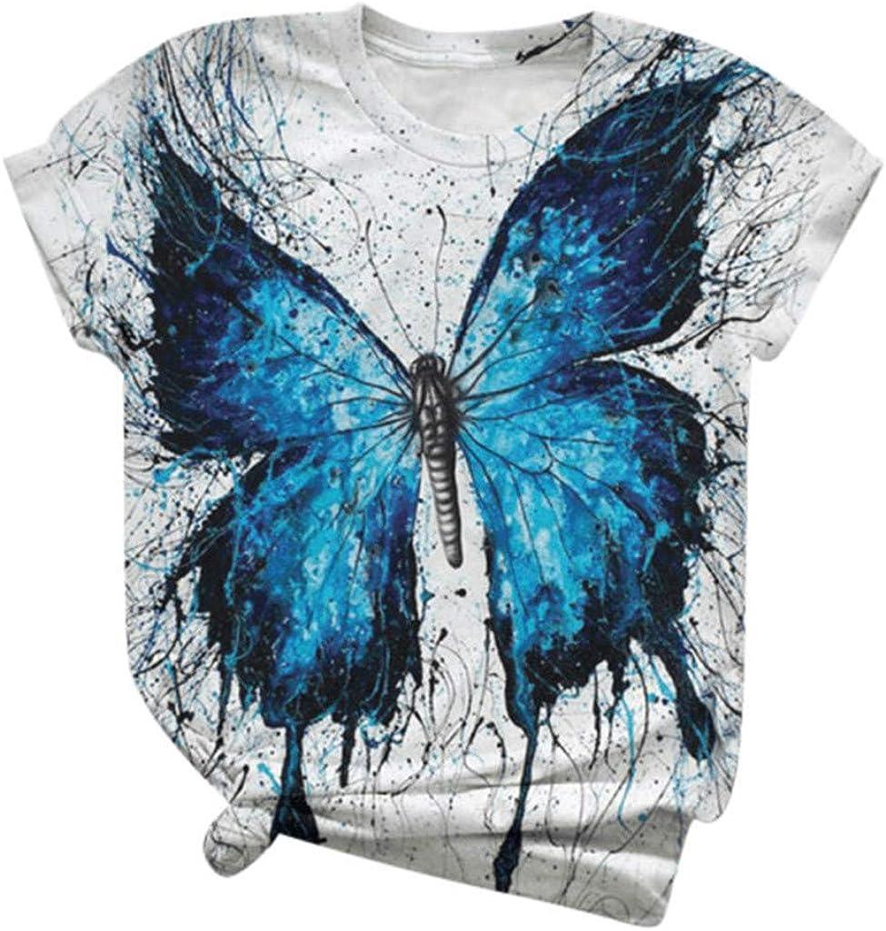 Dunacifa Womens Tops Shirts Short Sleeve Summer Casual Loose Tee Cute Printed T-Shirts Crew Neck Tunic Blouses