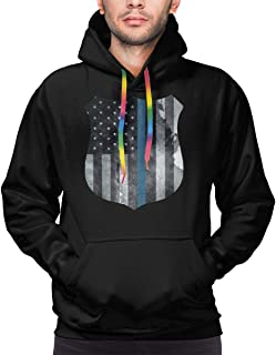 PINGPINGwei Police Shield Tattered Thin Blue Line Police Officer Sheriff Badge Men's Hooded Sweatshirt Pullover Hoodie