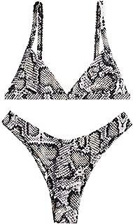 ZAFUL Damen Tr/ägerloser Ananas Print High Cut Bandeau Bikini Set