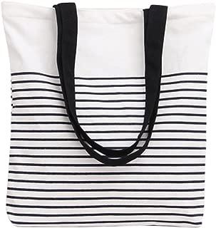 Black Stripe Pattern Canvas Tote Bag Shoulderbag White