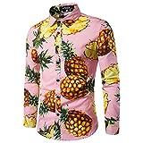 Legogo - Camiseta de manga larga para hombre, diseño de frutas rosa Small