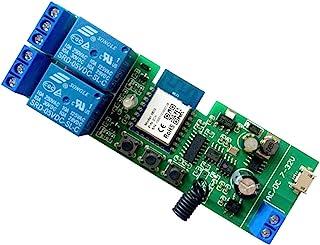 MHCOZY Relais WiFi RF sans fil 2 canaux avec verrouillage automatique en mode Télécommande pour contrôle d'accès Smart Gar...