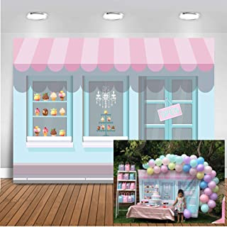 Mocsicka Ice Cream Parlor Backdrop 7x5ft Vinyl Ice Cream Theme Happy Birthday Party Photo Booth Backdrops 1st Birthday Candy Table Banner Photography Background