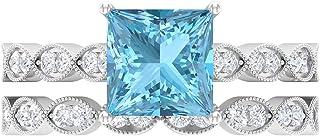 Anillo solitario de corte princesa de 7,00 mm, D-VSSI Moissanita Eternity, anillo de oro blanco de 14 quilates