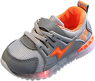 Cocity Infants Kids Premium Flashing LED Light Up Sports Sneakers Shoes, Fashion Toddlers Baby Boys Girls Breathable Mesh Lightning Antiskid Loafers Shoes Fitts for Children Aged 15Months-6Years